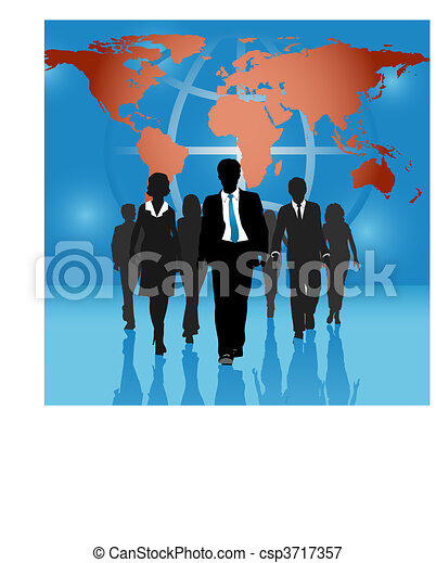 Global business people team world map background - csp3717357