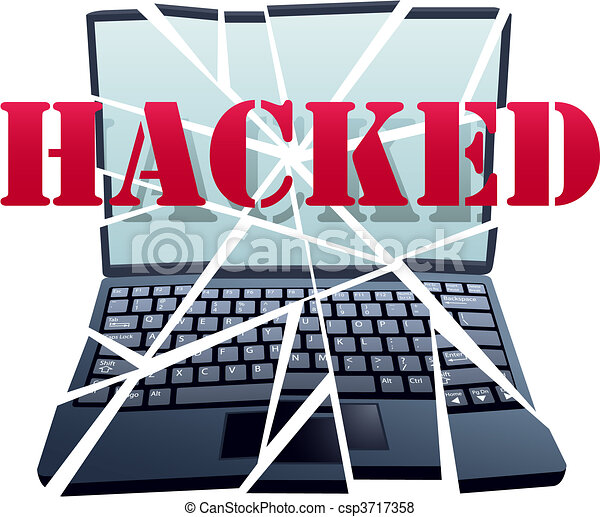 Hacker breaks security to crash Laptop Computer pieces - csp3717358