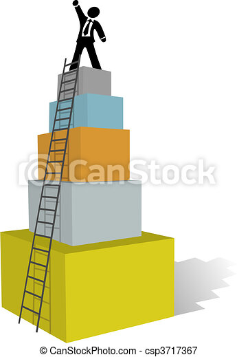Business man climb to success ladder top - csp3717367