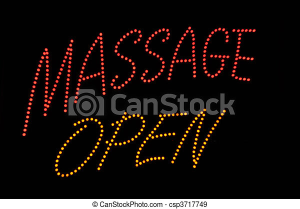 Massage Open Neon Sign - csp3717749
