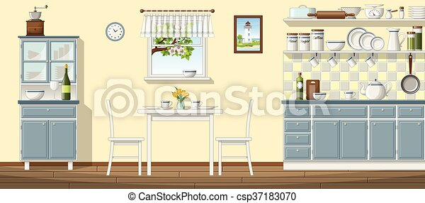 Illustration of a classic kitchen - csp37183070