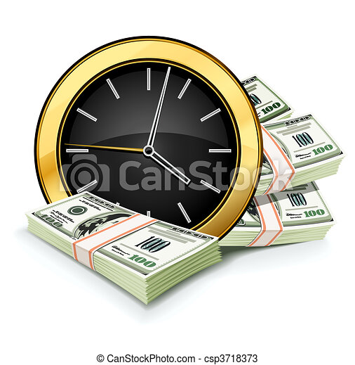 time is money concept with clock and dollars - csp3718373