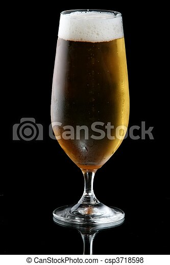 Beer or Lager in Glass - csp3718598