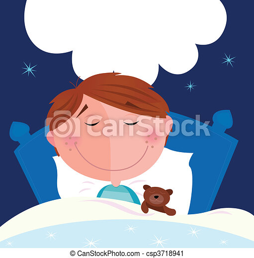 Small boy sleeping in bed - csp3718941