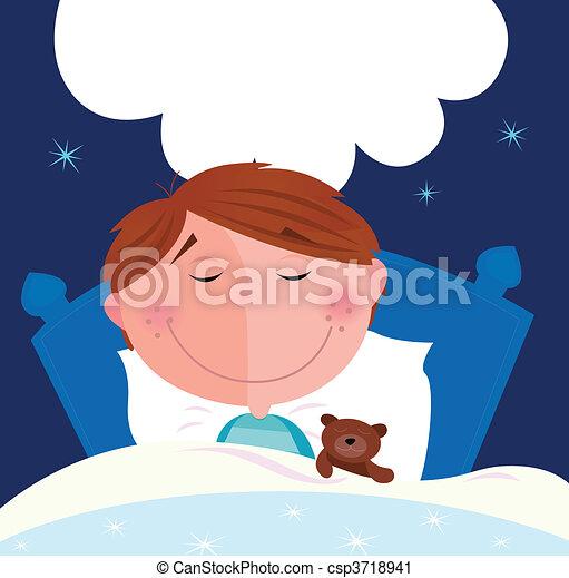 Small boy sleeping in bed - csp3718941