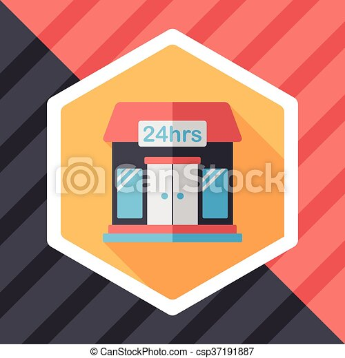 Building convenient store flat icon with long shadow,eps10 - csp37191887
