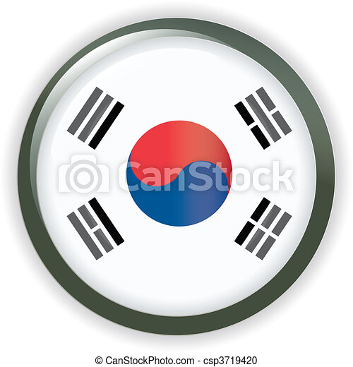 Orb KOREA Flag button illustration - csp3719420