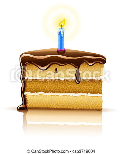 piece of birthday chocolate cake with burning candle - csp3719604
