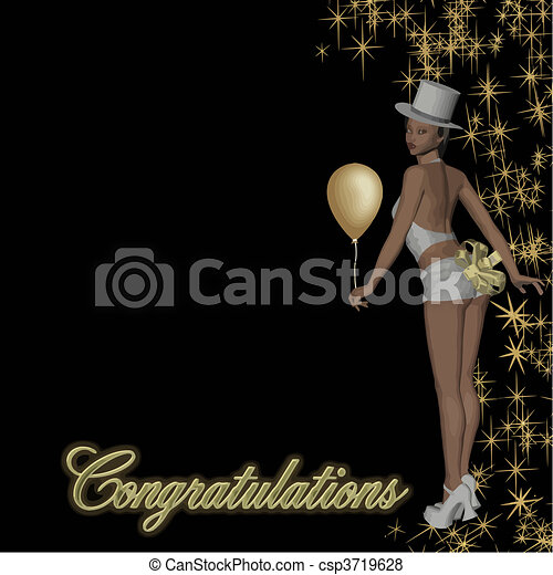 congratulations girl vector - csp3719628