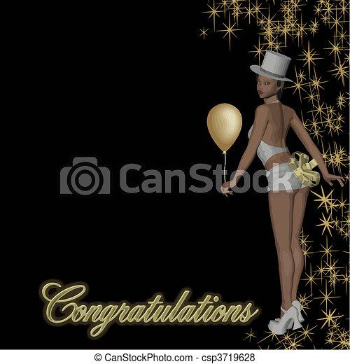 congratulations girl vector - csp3719628
