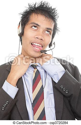 Gasping telemarketer loosening collar - csp3720284