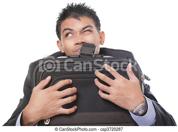 Traveling businessman grasping case - csp3720287