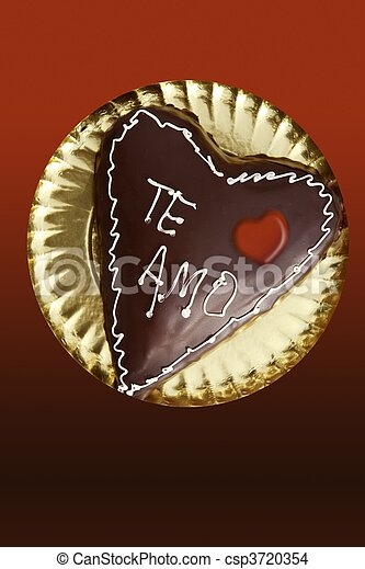 chocolate heart shape cake valentine day - csp3720354