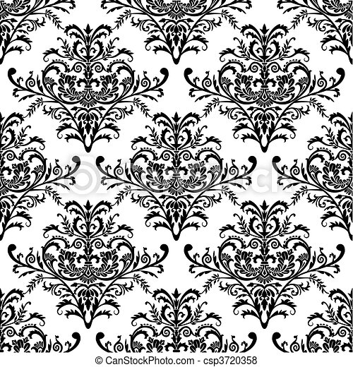 Seamless baroque wallpaper, vector  - csp3720358