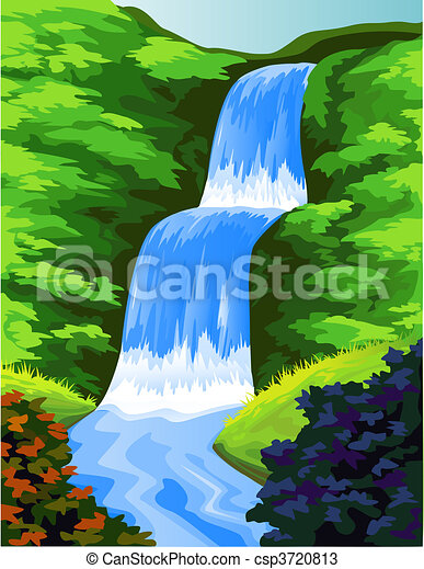 beautiful  water fall - csp3720813