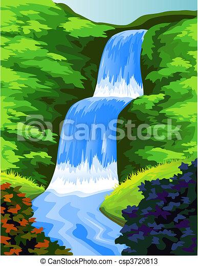 beautiful  water fall - csp3720813