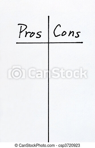 A list of Pros and Cons arguments - csp3720923
