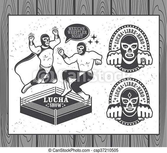 Vector Clipart of Lucha Libre Collection - Mexican wrestler set ...
