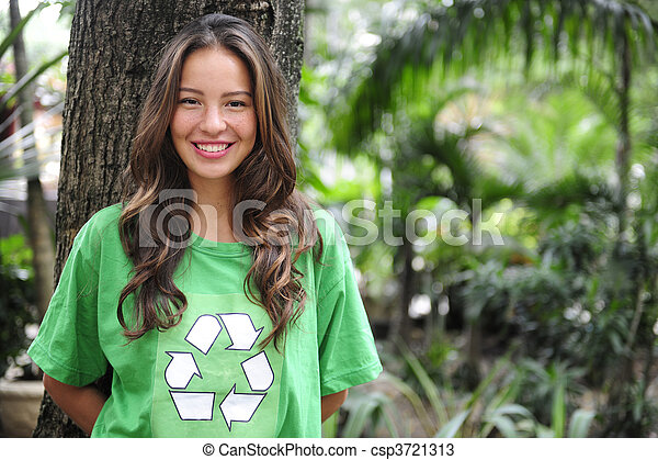 environmental activist  in the forest wearing recycle t-shirt - csp3721313