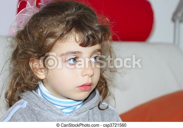 brunette little girl portrait looking nowhere - csp3721560
