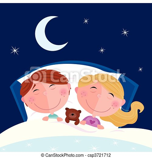 Siblings - boy and girl sleeping - csp3721712