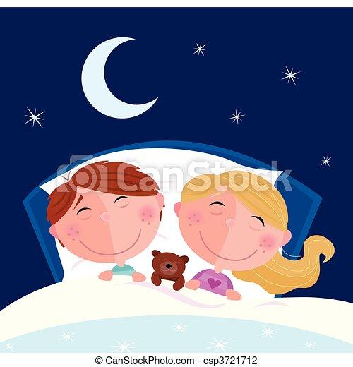 Siblings - boy and girl sleeping - csp3721712