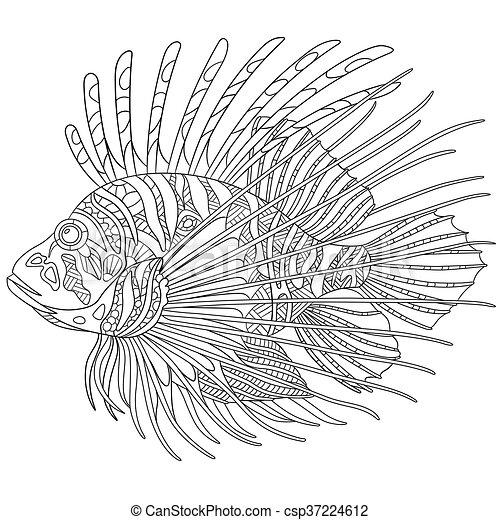 Vector Clip Art of Stylized zebrafish (lionfish) - Stylized ...