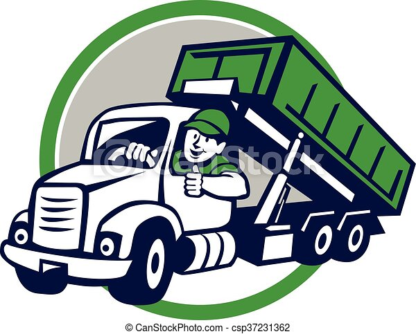Clip Art Vector of Roll-Off Bin Truck Driver Thumbs Up Circle ...