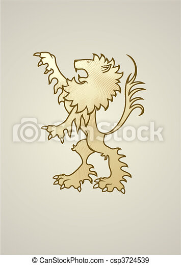 Ancient coat of arms lion. - csp3724539