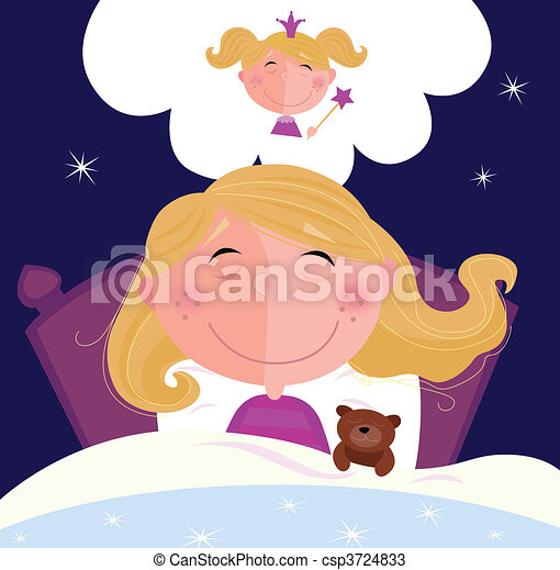 Small girl is sleeping and dreaming - csp3724833