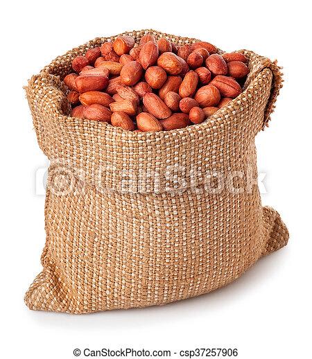stock de fotos arpillera aislado bolsa plano de fondo cacahuetes blanco