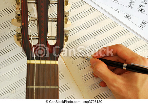 Guitar with hand composing music on manuscript - csp3726130