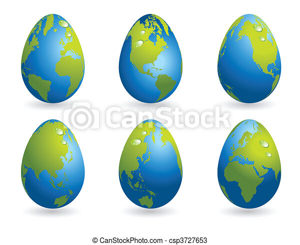 Easter eggs collection world map - csp3727653