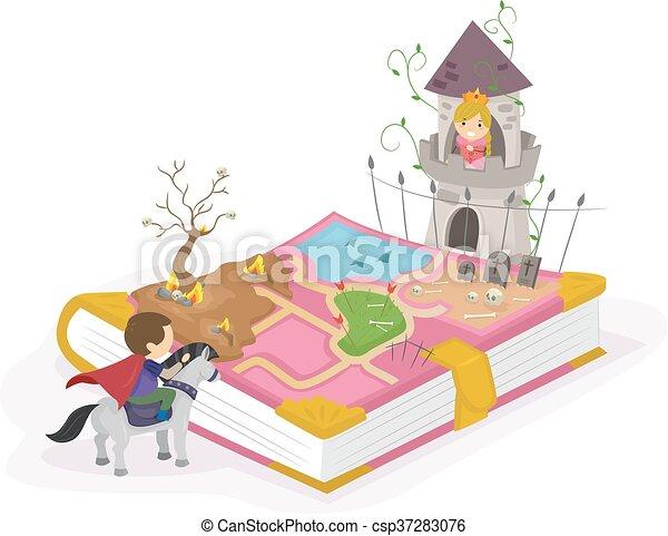 Vectors Illustration of Stickman Kids Adventure Book ...