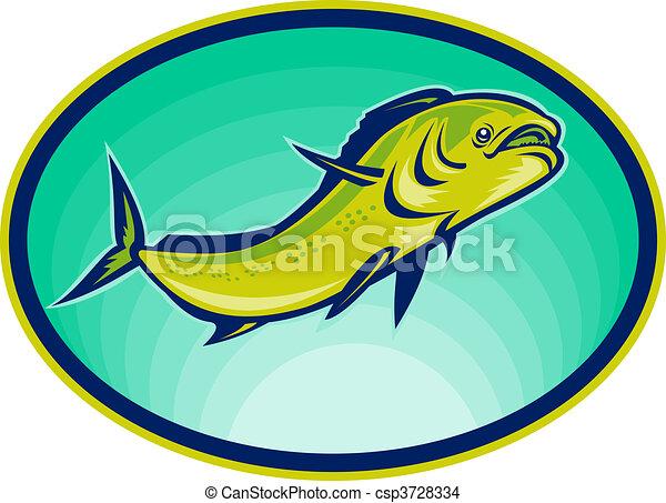 dolphin fish or mahi mahi swimming viewed from a low angle. - csp3728334