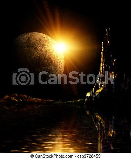 Landscape in fantasy planet - csp3728453