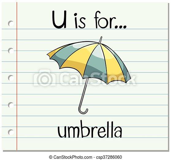 Clip Art Vector of Flashcard letter U is for umbrella illustration ...