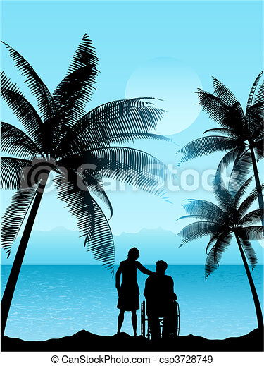 couple in a tropical landscape  - csp3728749