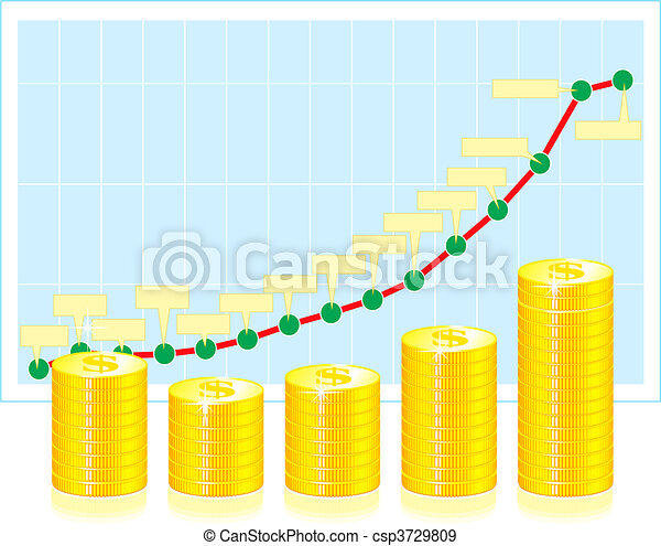 Financial graph with coins - csp3729809