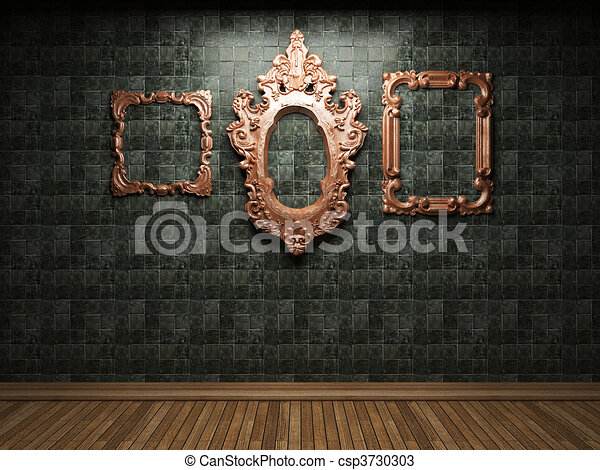 illuminated wooden wall and frame - csp3730303