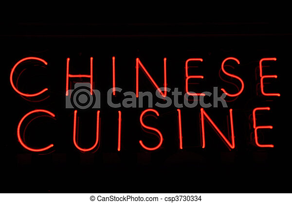 Chinese Cuisine Red Neon Sign - csp3730334