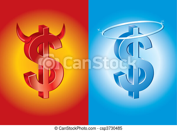 dollar sign as devil and angel - csp3730485