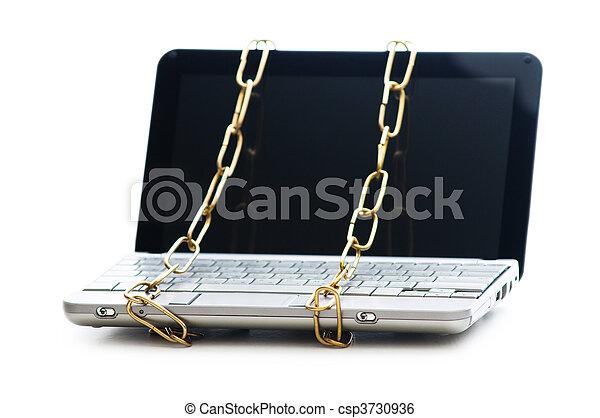 Concept of computer security with laptop and chain - csp3730936