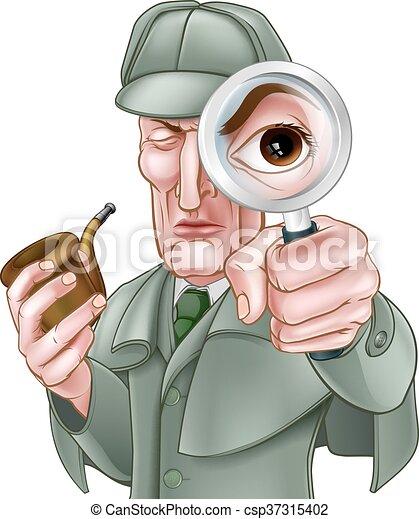 Sherlock Holmes Detective Cartoon - csp37315402