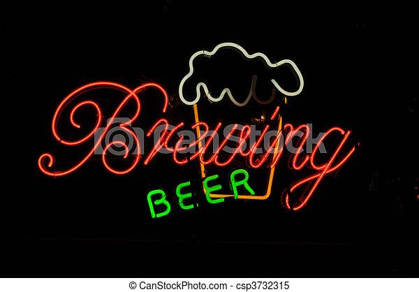Brewing Beer Neon Sign - csp3732315