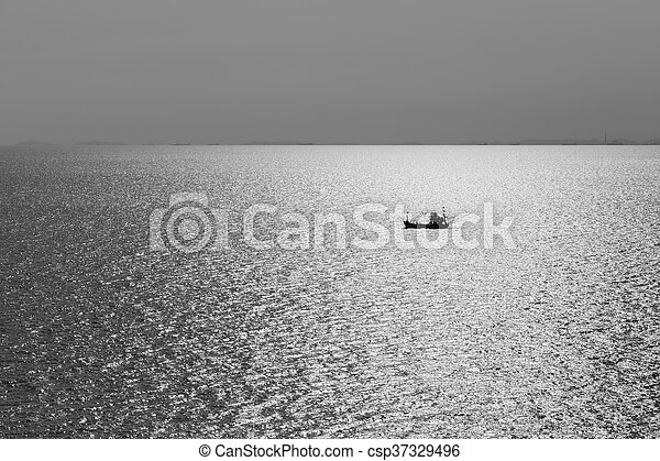 Black and White, Single fishing boat in the ocean, natural abstract landscape background