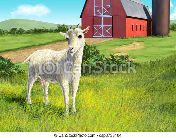 Goat and farm - csp3733104