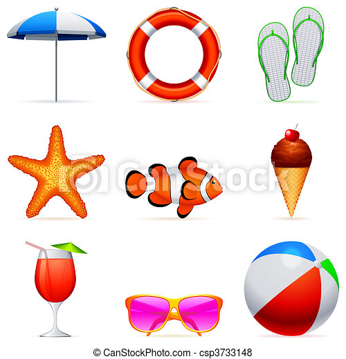 Summer vacation icons. - csp3733148
