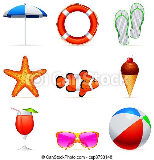 Summer vacation icons. - csp3733148