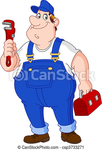 Vector Clip Art of Plumber - Smiley repairman holding big wrench ...